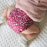 Sassy Pants Nappy with Velcro: Vintage Floral Merlot
