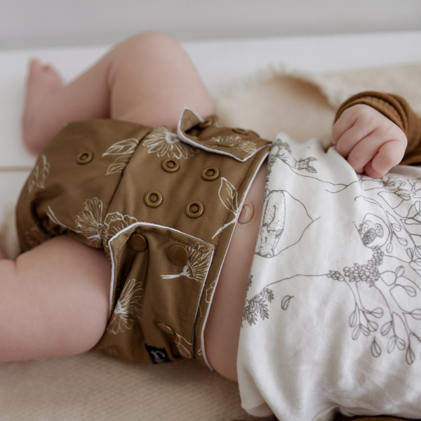 PRESALE Sassy Pants Nappy with Snaps: Golden Bloom