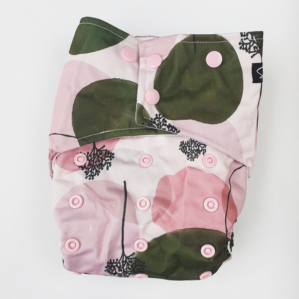 PRESALE Sassy Pants Nappy with Snaps: Sakura Blossom
