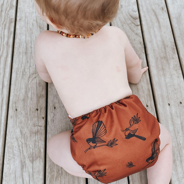 Sassy Pants Nappy with Snaps: Rust Fantails