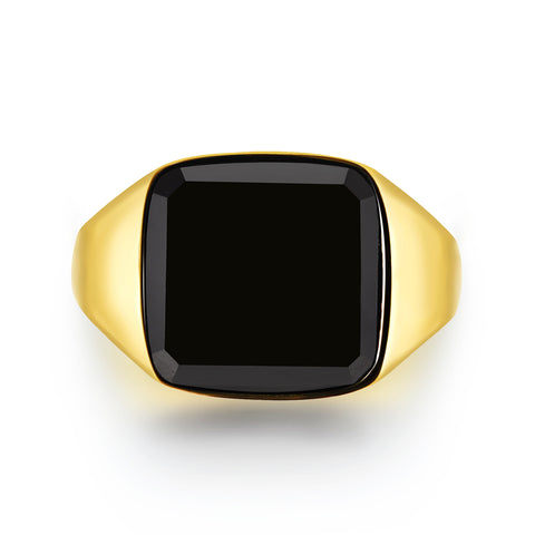 Black Onyx Signature - Gold ring