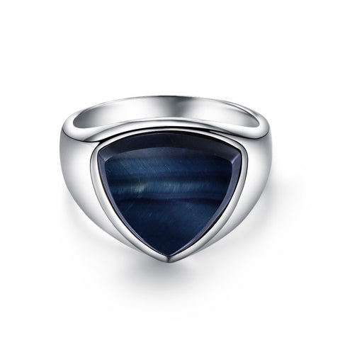 Blue Hawk Eye Polygon Signature - Silver ring