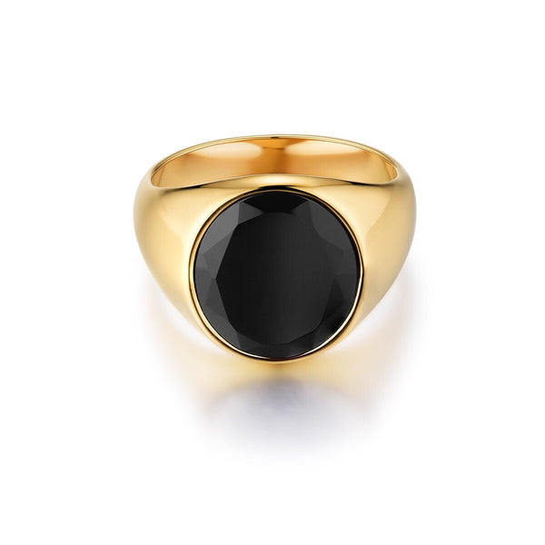 Oval Black Onyx Signature - Gold ring
