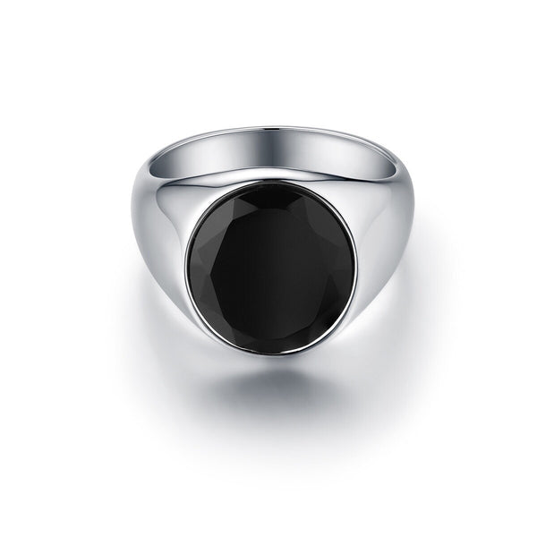 Oval Black Onyx Signature - Silver ring