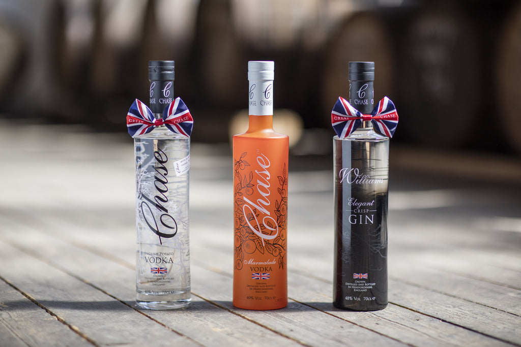 Chase Distillery - line up of spirits