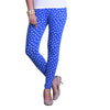 Buy blue and white printed leggings front view