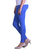 Buy blue and white printed leggings side view