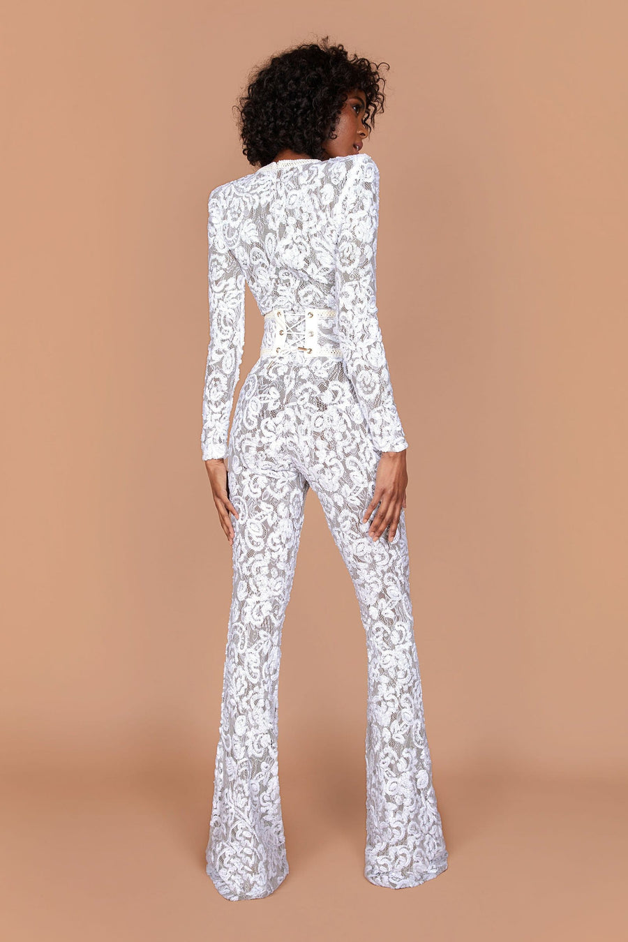 Bella White Dark Nude Jumpsuit
