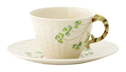 Belleek: Shamrock Cup/Saucer Set - Hibernian Gifts