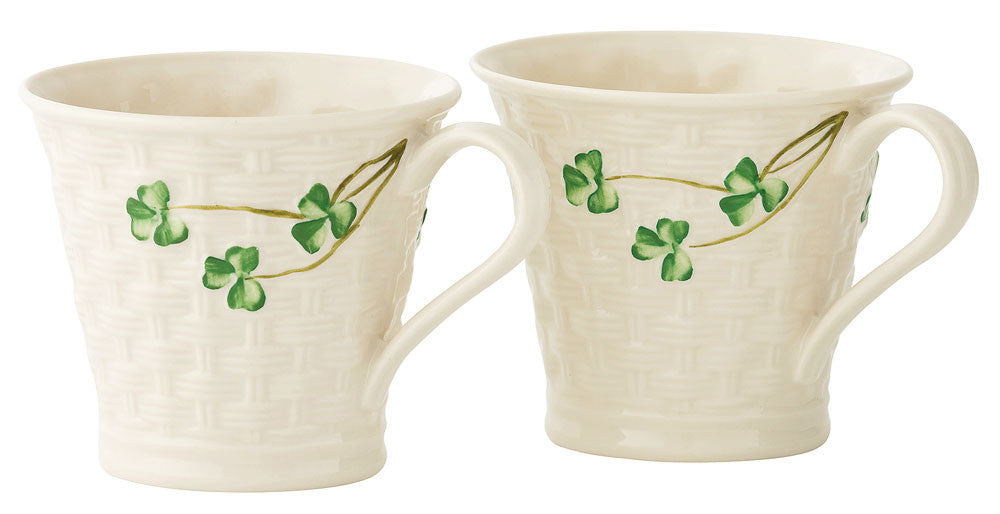 Belleek: Basketweave Mugs (set of 2) - Hibernian Gifts