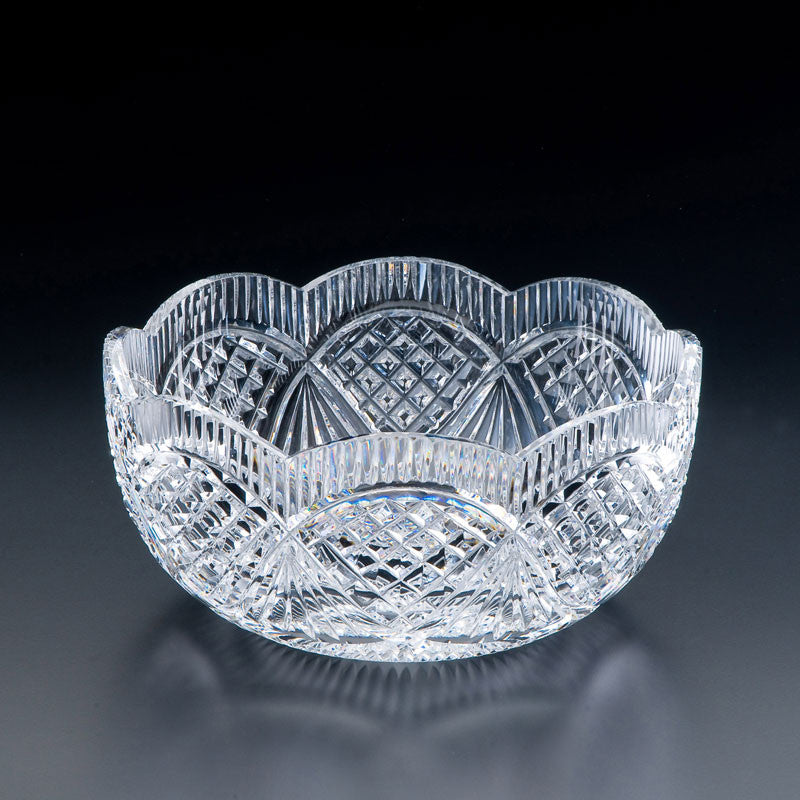 "Heritage Irish Crystal: Classic Scalloped Bowl 9"" Limited Edition - Hibernian Gifts"