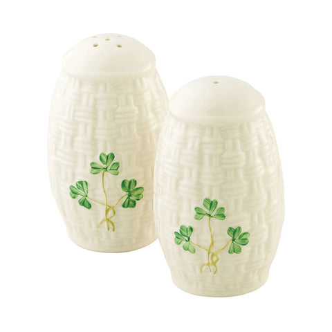 Belleek: Shamrock Salt & Pepper Set - Hibernian Gifts