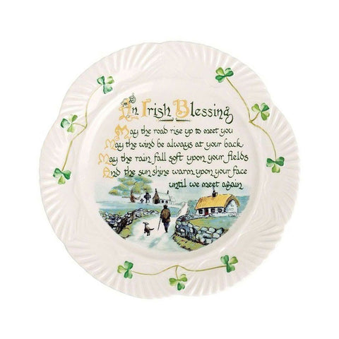 Belleek: Harp Irish Blessing Plate - Hibernian Gifts