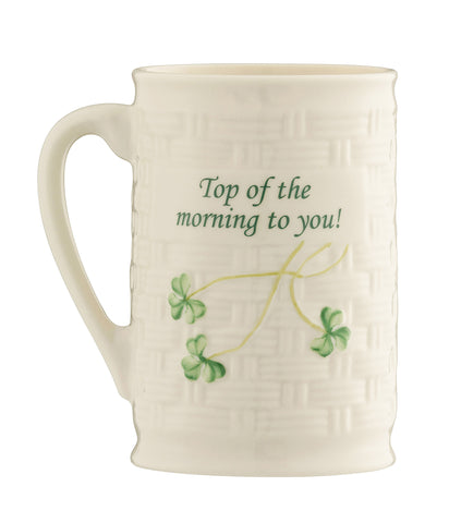 Belleek: 'Top of the Morning To You' Mug - Hibernian Gifts