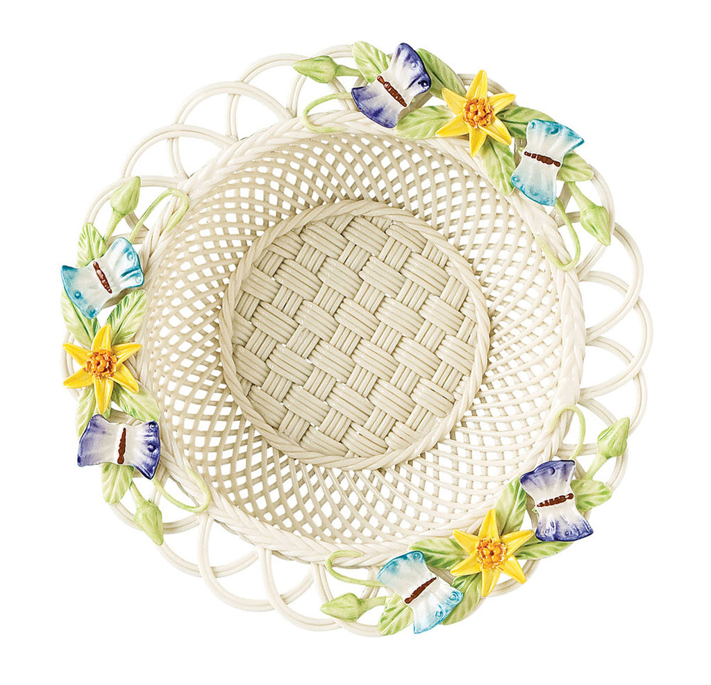 Belleek: Butterfly Meadow Basket - Hibernian Gifts
