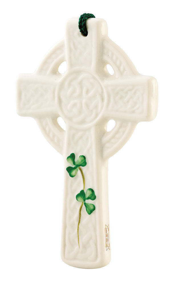 Belleek: Saint Kieran's Celtic Cross Ornament - Hibernian Gifts