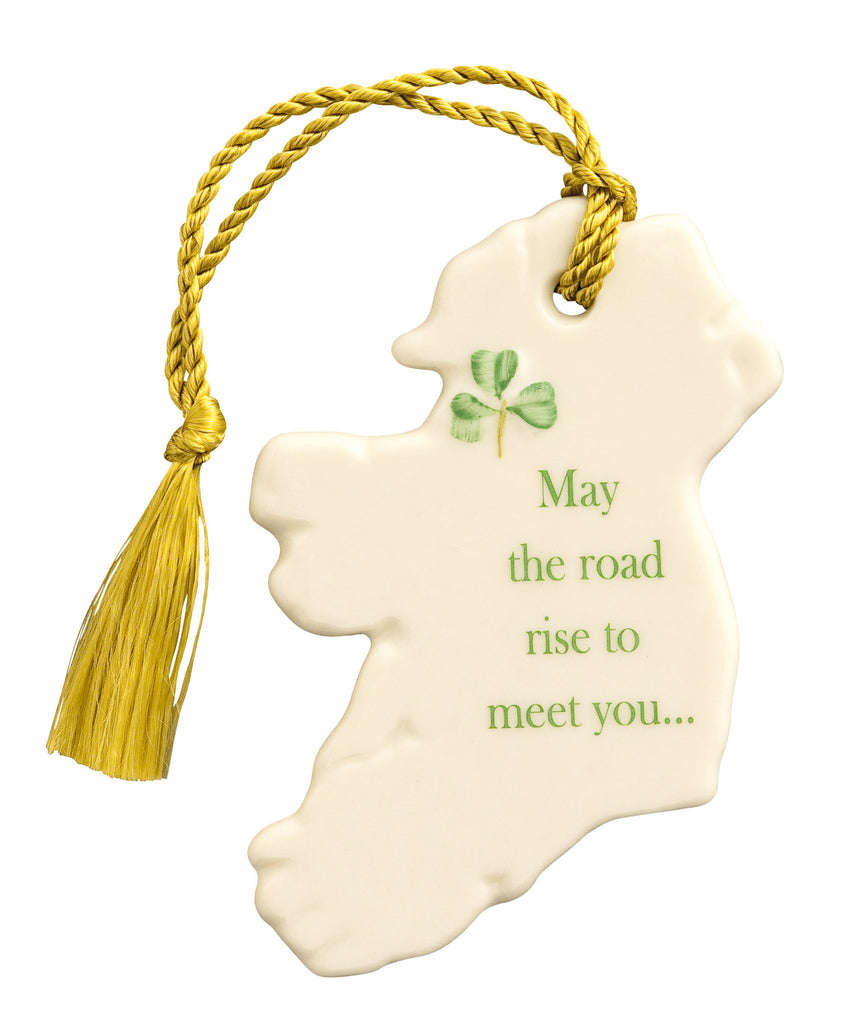 "Belleek: ""May the road rise to meet you"" Ornament - Hibernian Gifts"