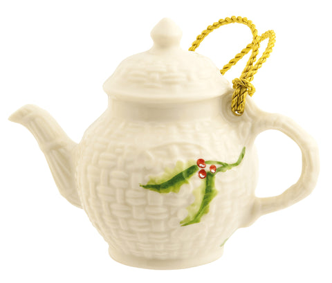 Belleek: Miniature Teapot Ornament - Hibernian Gifts