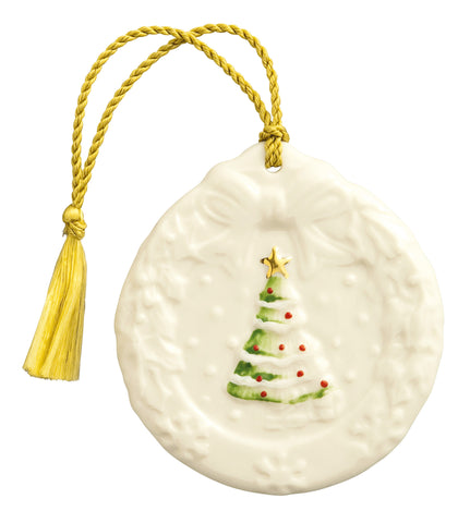 Belleek: Holly Wreath Ornament - Hibernian Gifts