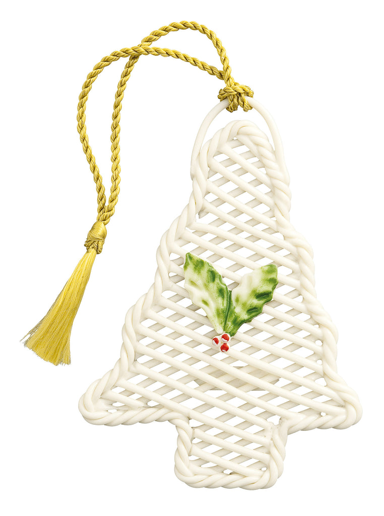 Belleek: Basket Christmas Tree Ornament - Hibernian Gifts