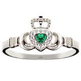 Emigration 925 Sterling Silver Simulated Diamonds & Emeralds Claddagh Ring