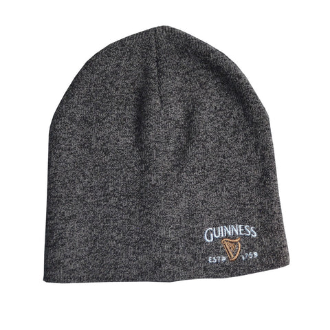 Guinness Beanie Hat With Guinness Trademark Logo Design, Grey Colour - Hibernian Gifts