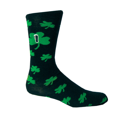 Black Socks With Green Shamrocks - Hibernian Gifts