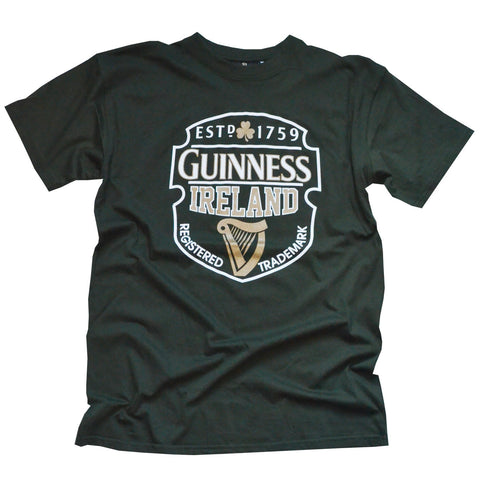 Guinness T-Shirt With Registered Trademark , Bottle Green Colour - Hibernian Gifts