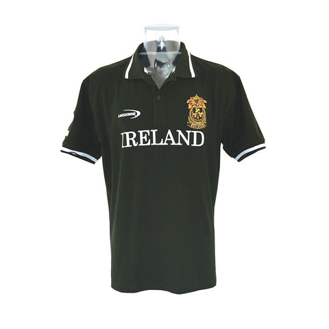 Kid's Green Polo Shirt With Ireland Print & Ornate Celtic Nation Crest - Hibernian Gifts