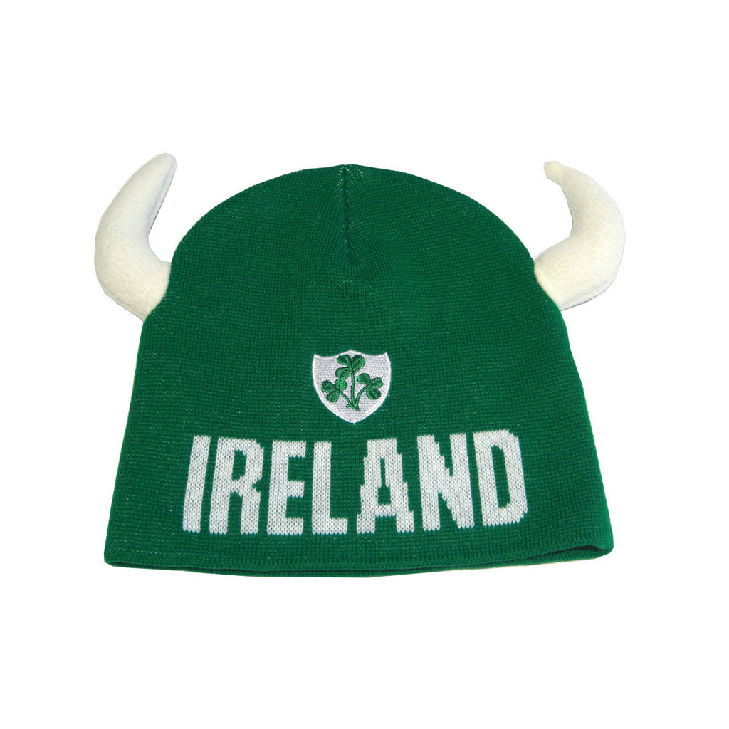 Kids Ireland Beanie Hat With Green Shamrock Logo with White Horns - Hibernian Gifts