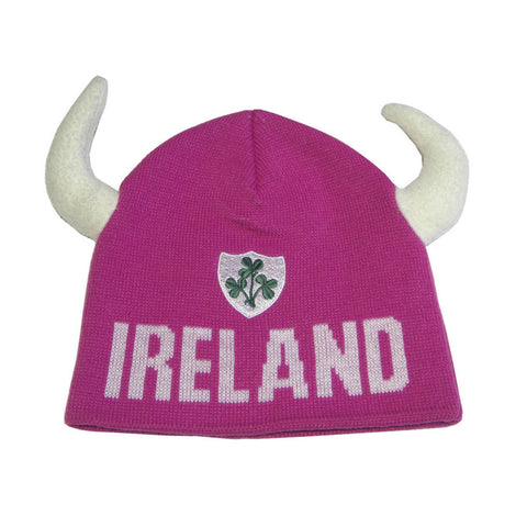 Kids Viking Beanie Hat With Green Shamrock Logo with White Horns - Pink - Hibernian Gifts