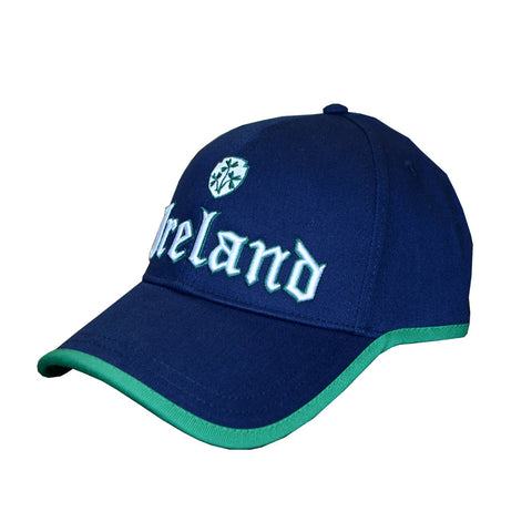 Baseball Cap With Embroidered Ireland And Shamrock, Navy With Green Trim - Hibernian Gifts