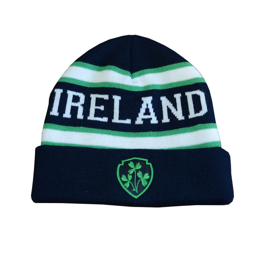 Ireland Woolly Hat With Shamrock Crest with Green & White Stripes - Hibernian Gifts