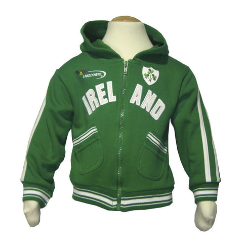 Kid's Ireland Hoody With Ireland Print & Shamrock Crest With White Trim - Hibernian Gifts