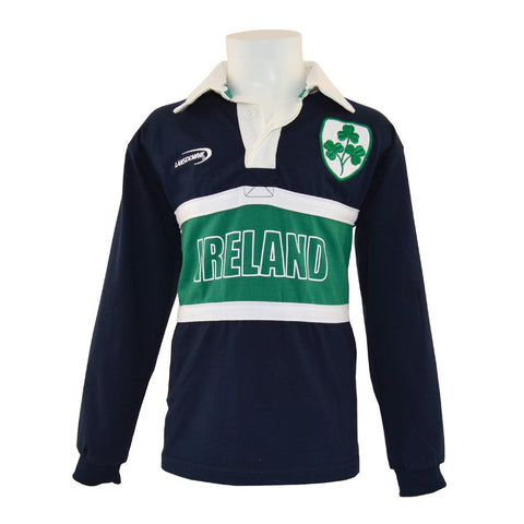 Navy And  Green & White Striped Kid's Long Sleeve Ireland Shirt with Shamrock Crest - Hibernian Gifts