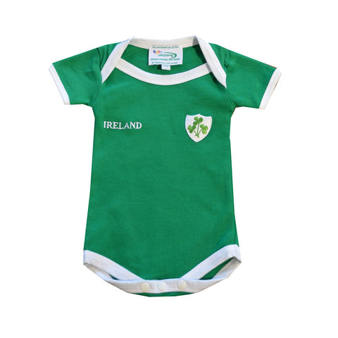 Green Ireland Baby Rugby Vest With Ireland Print And Shamrock Badge - Hibernian Gifts