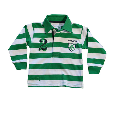 Green And White Striped Kid's Long Sleeve Ireland Shirt - Hibernian Gifts
