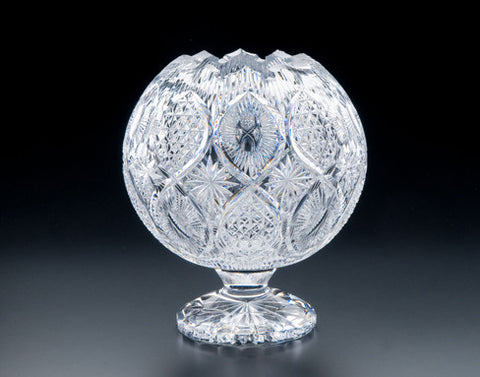 Heritage Irish Crystal:  Aran Islands Pedestal Rose Bowl: Limited Edition of 100 - Hibernian Gifts