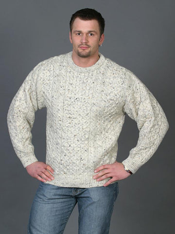 Westend Knitwear: Irish Aran Crew Neck Sweater - Hibernian Gifts - 1
