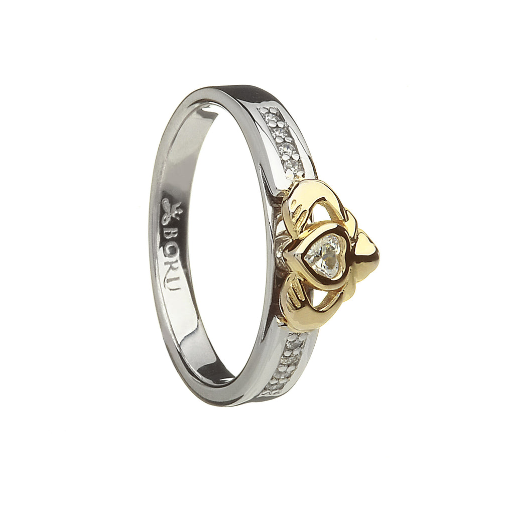 Silver Claddagh Ring with 10k Gold Heart and CZ Band with Matching Band - Hibernian Gifts - 2