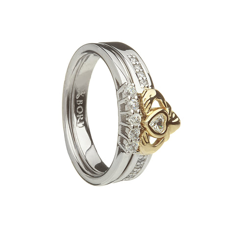 Silver Claddagh Ring with 10k Gold Heart and CZ Band with Matching Band - Hibernian Gifts - 1