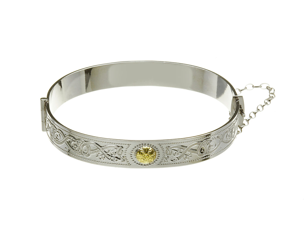 Celtic Warrior Silver Bangle with 18k Gold Bead - Hibernian Gifts