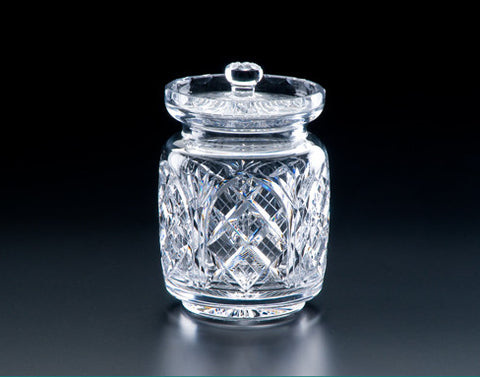 "Heritage Irish Crystal:  Cathedral Biscuit Barrel 6"" - Hibernian Gifts"