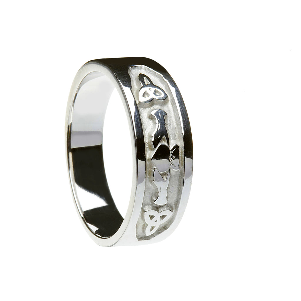 Silver Claddagh and Trinity Knot Band - Hibernian Gifts
