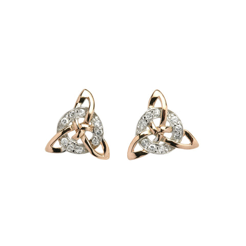 Silver Trinity Earrings with 18pc CZ Circle - Hibernian Gifts