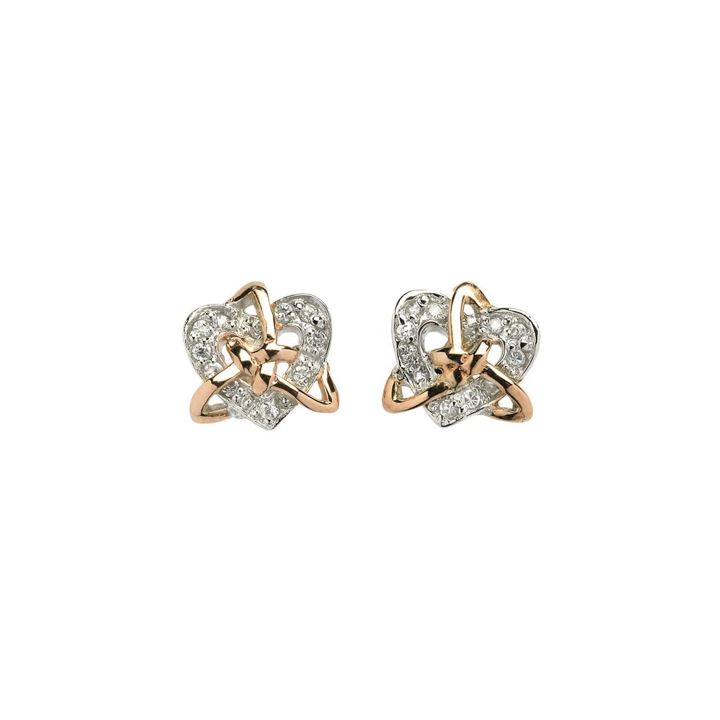 Silver Trinity Earrings with 24pc  CZ Heart - Hibernian Gifts