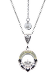 Emigration 925 Sterling Silver Claddagh Pendant with Connemara Marble & Chain