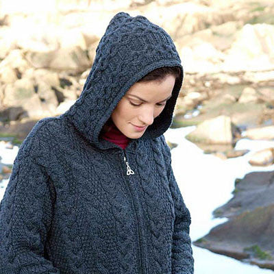 Westend Knitwear: Hooded Coat With Celtic Knot Zipper - Hibernian Gifts - 2