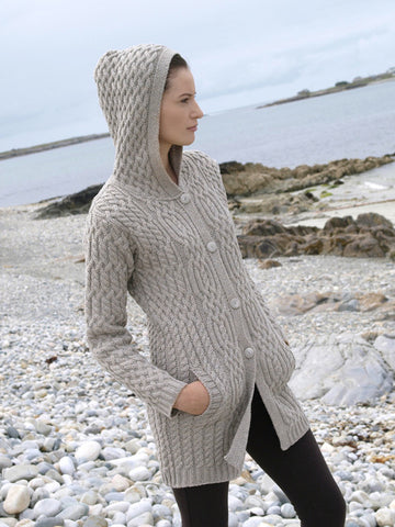 Westend Knitwear: Irish Traditional Cable Button Coat - Hibernian Gifts - 1