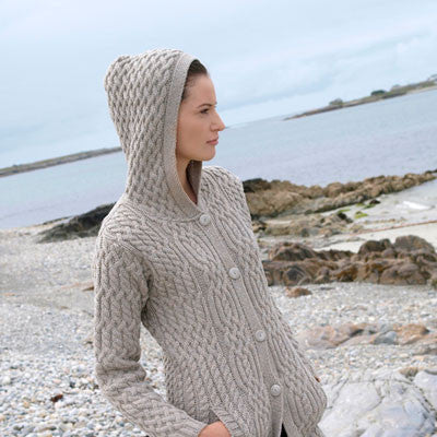 Westend Knitwear: Irish Traditional Cable Button Coat - Hibernian Gifts - 2